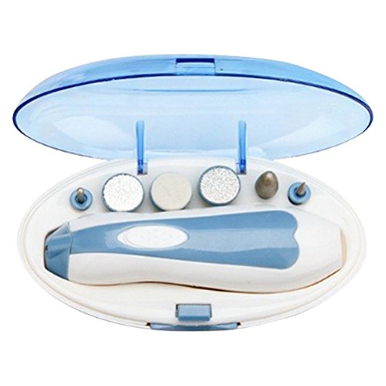 実質的にフロー安価な電動式ネイルケア ネイルマシン ネイルマシーン電動爪磨き 電池式 LEDライト搭載 アタッチメント6種類付き 甘皮 角質除去  持ち運び便利 ブルー ケース付
