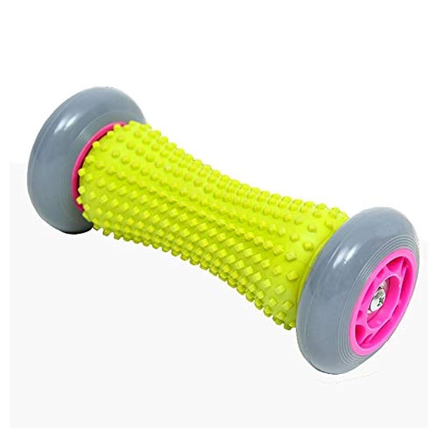 マラソン満足させるくさび足底筋膜炎のリフレクソロジーのためのフットローラーマッサージ背中の足の筋肉マッサージャー+ 2先端のとがったボール