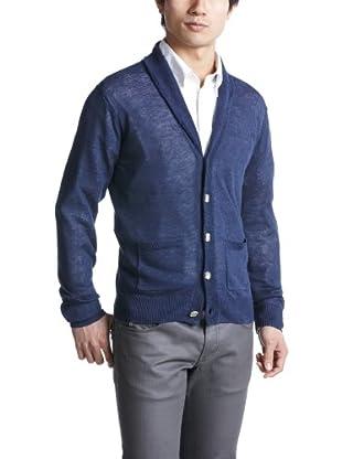 Linen Shawl Collar Cardigan 1228-105-0234: Cobalt