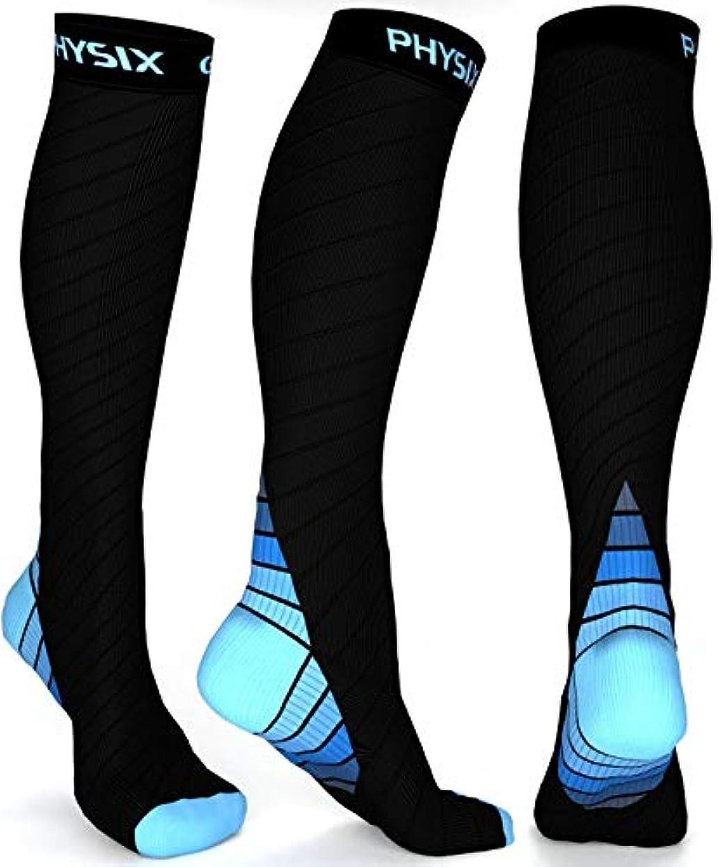 不規則性スリップ体系的にPhysix Gearコンプレッションソックス男性用/女性用(20?30 mmHg)最高の段階的なフィット ランニング、看護、過労性脛部痛、フライトトラベル&マタニティ妊娠 – スタミナ、循環&回復 (BLACK & BLUE...