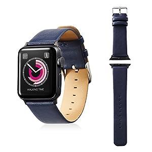 エレコム Apple Watch バンド 38mm ソフトレザー フラットスクエアタイプ ネイビー AW-38BDLFSBU