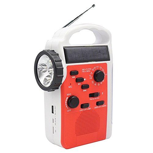 [昇級版] ラジオライト 手回し発電 太陽光充電 Bluetoothスピーカー/SDカード AM/FMラジオ LED懐中電灯・ランタン付き スマートフォン・携帯電話充電可能 2300MAリチウム電池 災害対策 XIAOKOA