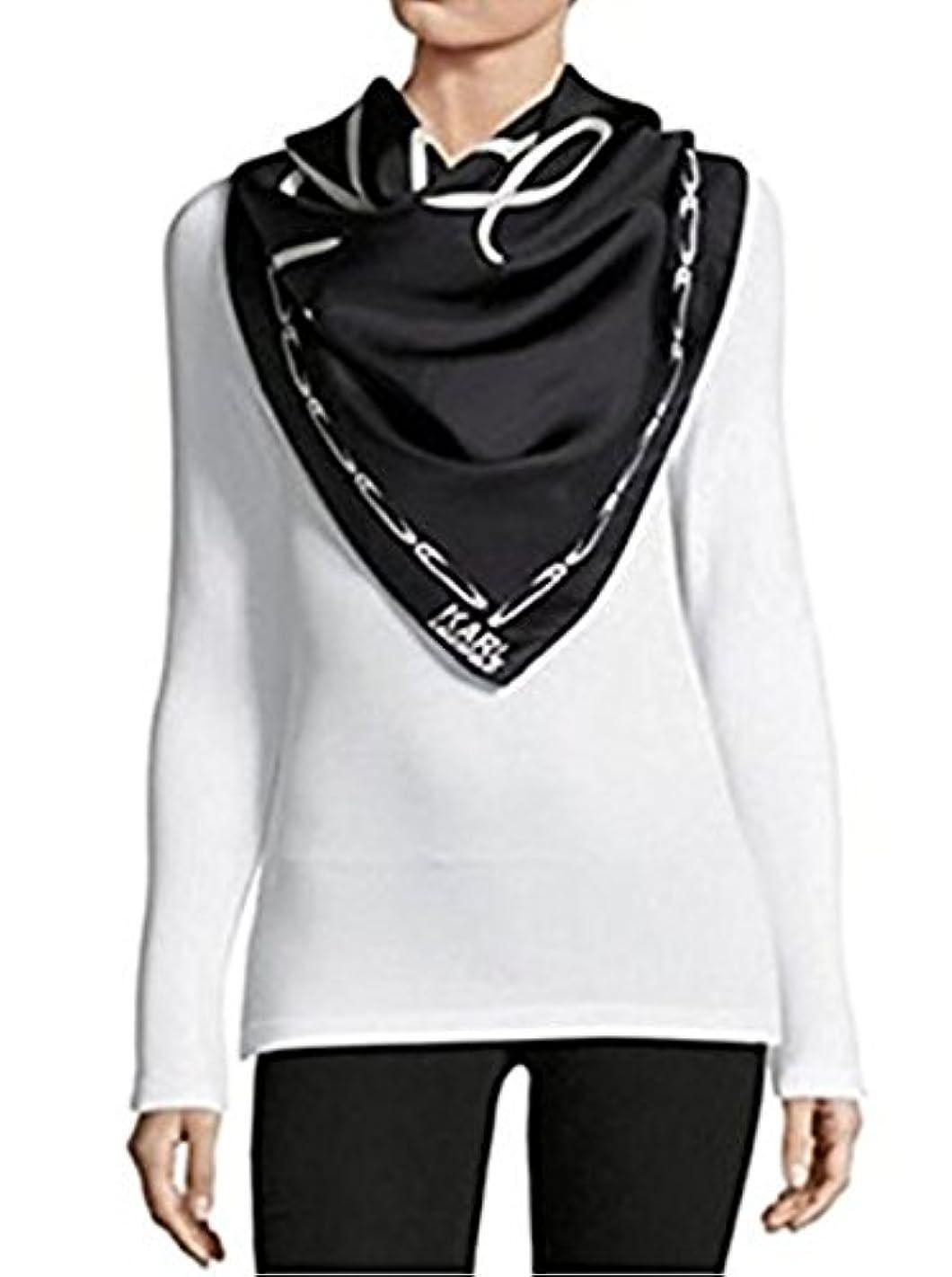 有限なすエキスカールラガーフェルドParisシルク注意と安全ピン印刷scarf-black-oneサイズ