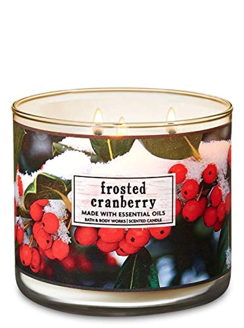 有限キッチン夕方【Bath&Body Works/バス&ボディワークス】 アロマキャンドル フロステッドクランベリー 3-Wick Scented Candle Frosted Cranberry 14.5oz/411g [並行輸入品]