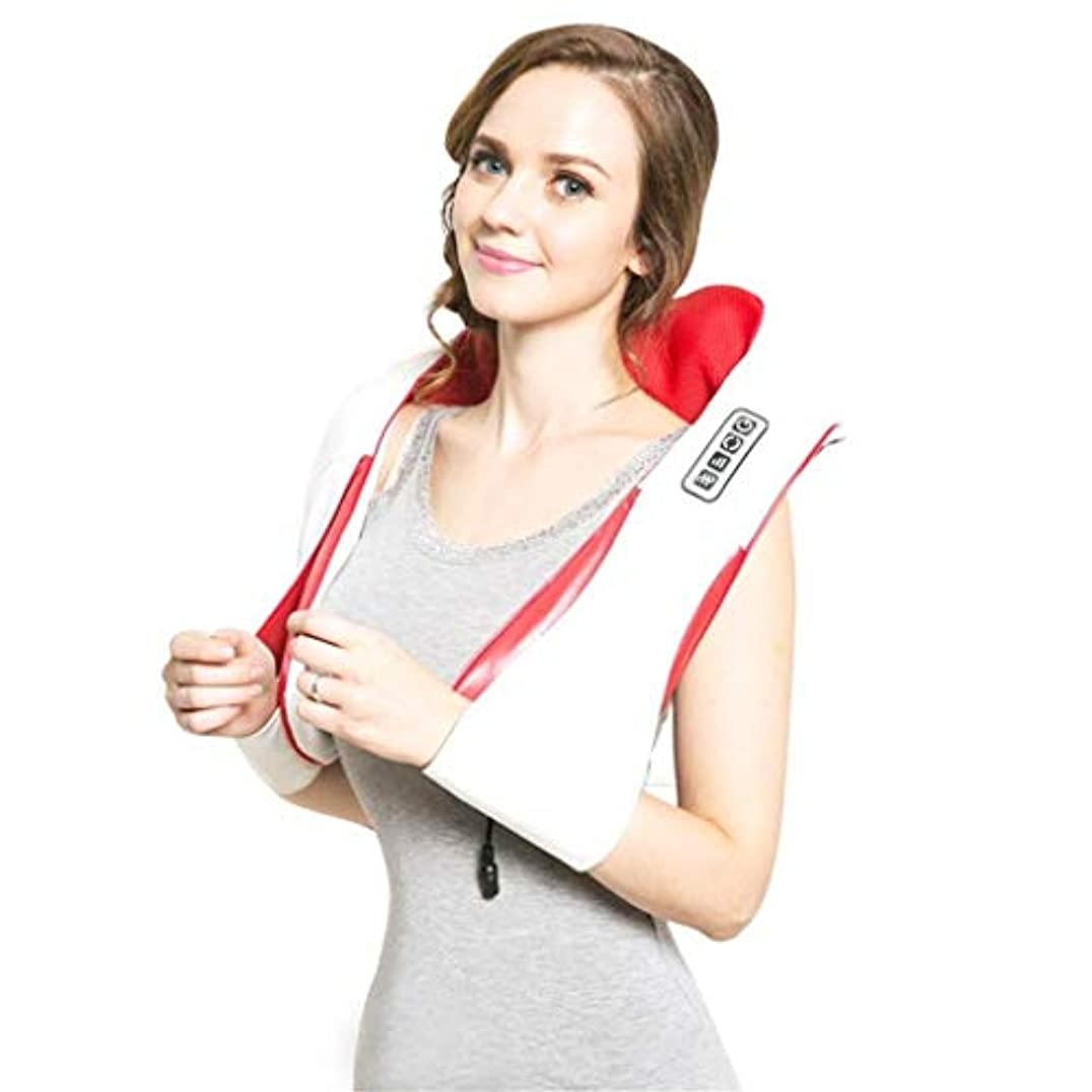 効能あるポーズ角度ネックマッサージャー、ネック/ショルダーエレクトリックフィンガーマッサージャー、加熱されたディープ4Dニーディンググループマッサージ、筋肉痛の緩和、血液循環の促進