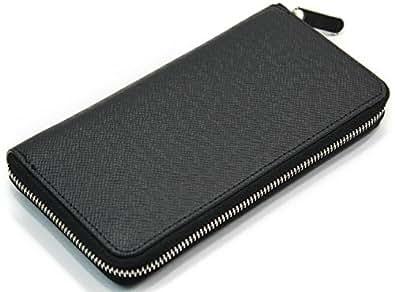 高級感 メンズ 財布 長財布 ラウンドファスナー ジッパー 金具 ビジネス (ブラック)