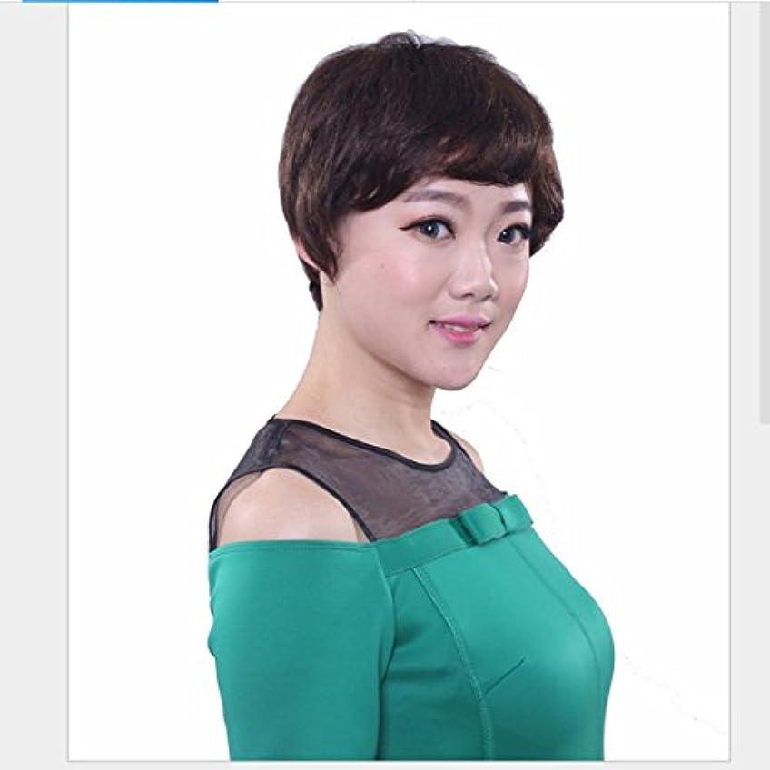 刈る妊娠した夫JIANFU (ダークブラウン)26cmリアルディープブラウンウィッグ女性のための短いカールヘアリアルなナチュラルカールのウィッグ斜めのバンズとふわふわの毛小壊れた髪のかつら (Color : Dark brown)