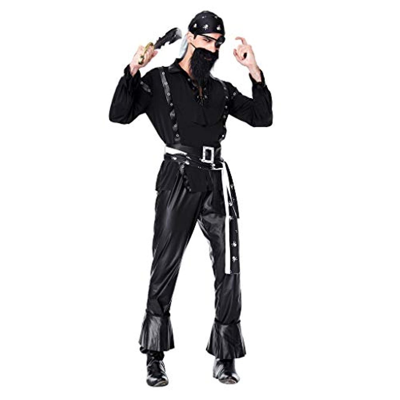 Hellery 成人男性片目バッカニア海賊キャプテン衣装仮装パーティー髭 - ブラック, XL
