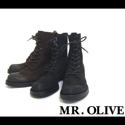 【MROLIVE(ミスターオリーブ)】ウォータープルーフヌバックロガーブーツ 9 1/2(L)サイズ ブラック