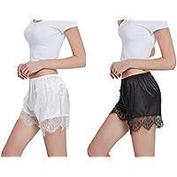 SUMMER RAIN Women's Culotte Slip Shorts Panty 2pcs Lace Smooth Satin Short for Under Dresses Plus Size Gift Box