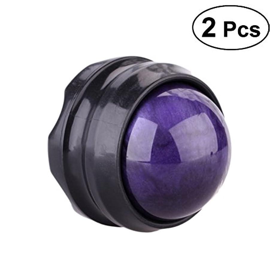 テレマコス電池鏡ROSENICE リラックス2冊のマニュアルマッサージボール自己マッサージローラーセラピー(パープル)
