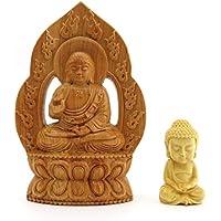 守り本尊 木彫り 仏像 ミニお釈迦様セット (大日如来)