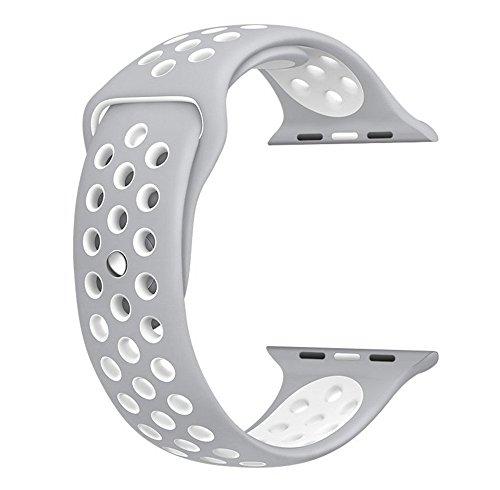 XRENG Apple Watch バンド, Apple Watch 38MMスポーツバンド 交換バンド 対応 アップルウォッチ Nike+ / New Apple iWatch Series 2 / Apple Watch Series 1 (38MM, シルバー+ホワイト)