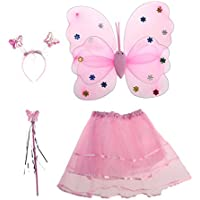 BESTOYARD Princess Fairy Costume Butterfly Costumes Outfit Set with Wings,Tutu,Wand and Headband for Girls Dress Up ,Ages 3-6,4pcs (Pink)