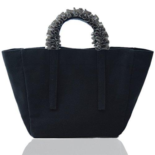 [해외]토트 백 여성 캔버스 귀여운 프릴 핸들 인기 리본/Tote bag ladies canvas pretty ruffle handle popular ribbon