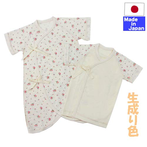 ba1be56545b59 日本製◇フライス肌着(バラの花柄・生成り色)新生児 肌着セット(コンビ肌着+短肌着) 外縫い サイズ50-60cm 綿100%  この商品は『ゆうパケット』で配送します。