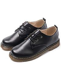 [DingCheng] マーチンシューズ ワークブーツ 3アイシューズ 定番 革靴 軽量 通気 快適 カジュアル アウトドア ショートブーツ ブラック 男女兼用 (22.5cm-28cm)