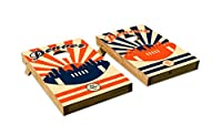 Denver BroncosデザインCornhole/Bean Bag Tossボードセット–Made in USA木製–2' x3'テールゲートサイズ–Includes 8corn-filled Beanバッグ Tailgate