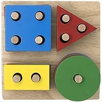 EXPLEARN 木製スタックとソート 幾何学ボード (マルチペグ/形状) 幾何学形状 (04) - 運動スキル - 早期学習/教育玩具 子供用