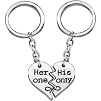 2pcs Couple Key Chain Ring Set Broken Heart Husband Wife Boyfriend Girlfriend - Her one His Only