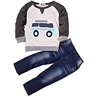 Kidscool Space Chumhey Little Boys Auto Printed Long Sleeve Sweaters Washed Jeans Pants Set