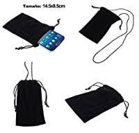 DFV mobile - Case Cover Soft Cloth Flannel Carry Bag with Chain and Loop Closure for => Woxter Zielo Q20 > Black