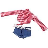 Dovewill 12インチ 女性アクションフィギュア対応 ドール かわいい 服 チェック柄 シャツ ショート ジーンズ パンツ ベルト セット 全2色選ぶ - レッド