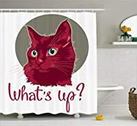 Ambesonne Cat Shower Curtain, Colorful Modern Artwork with Young Cat Portrait Asking What's Up Love Animal, Polyester Fabric Bathroom Set with Hooks, 69W X 70L Inches, Sage Green Dark Fuchsia [並行輸入品]