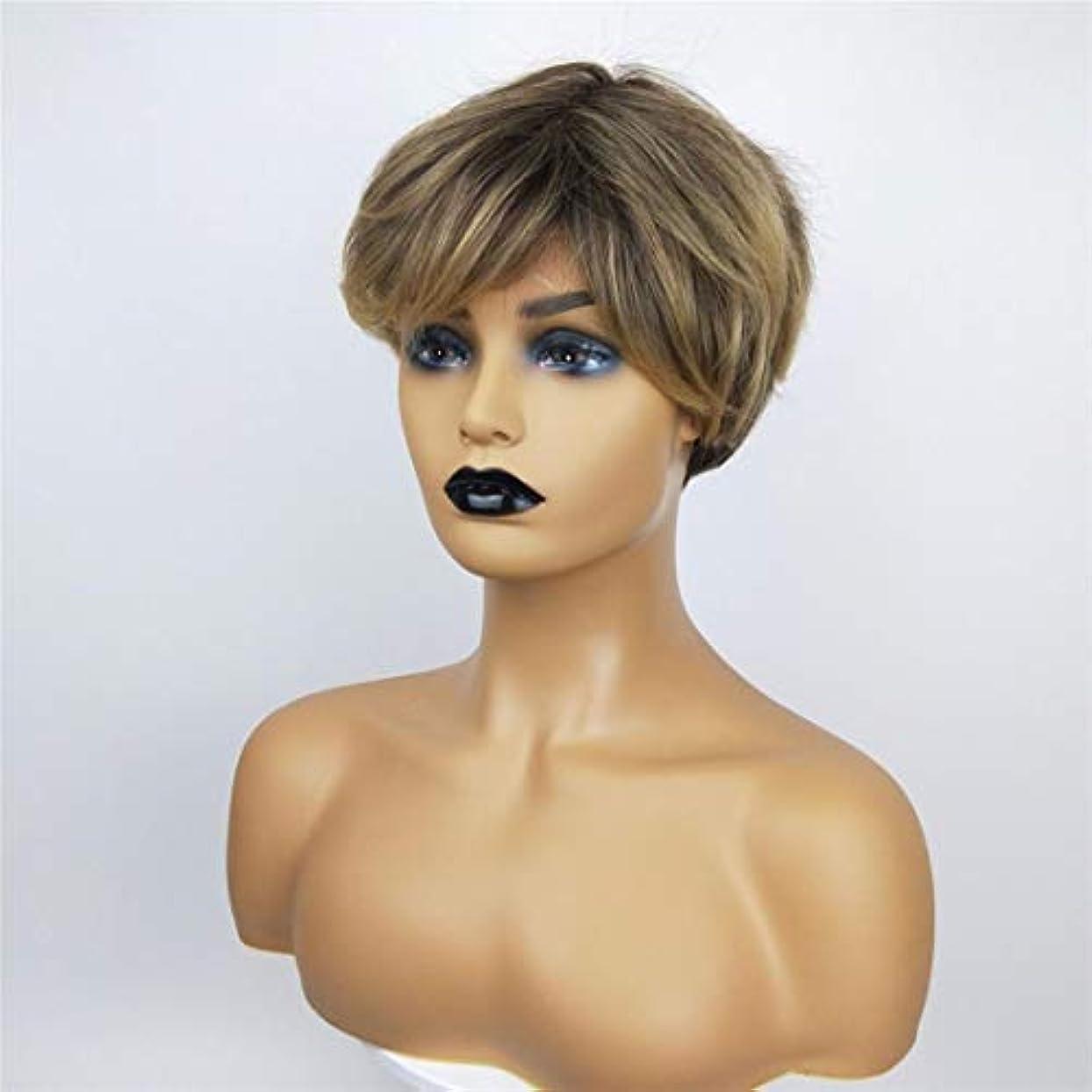 彼女のうつステッチSummerys 女性のための短い巻き毛のかつら高温シルクケミカルファイバーウィッグヘッドギア