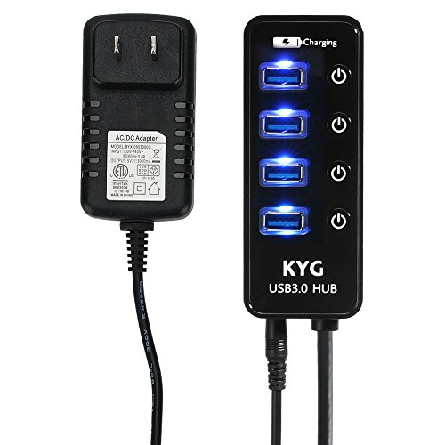 KYG USB3.0 ハブ 4ポート+1充電ポート セルフパワー電源付き バ...