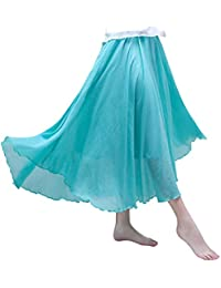 ODFMCE スカート レディース ロングスカート マキシスカート 綿麻 膝下 Aライン 無地 夏 ゴム 大きいサイズ