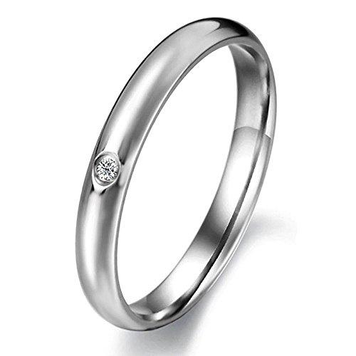 キラキラ ワンポイント GZ サージカルステンレス ダイヤモンド シルバー 婚約リング 結婚指輪 人気 可愛い ファイン 仕上 女性指輪 9-16号