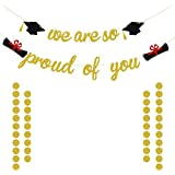 We are So Proud of You ゴールドグリッターバナー 卒業バナー 卒業/卒業パーティーデコレーション ゴールドグリッターサークルドットガーランド