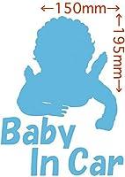 ノーブランド品 カッティングステッカー Baby In Car (ベイビー イン カー/赤ちゃんが乗ってます)・3 約195mm×約150mm アイスブルー 空色