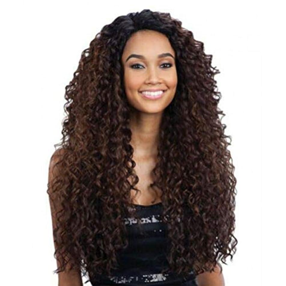 勝つ偉業ポケットフロントレースの女性ロングカーリー変態波状かつら合成耐熱繊維毛髪かつら黒26インチ
