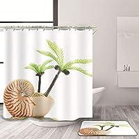 BMY 3Dシャワー・カーテンおよびマット/防水シャワー・カーテン/防カビのシャワー・カーテン/マットが付いている浴室のシャワー・カーテン(色:1003、サイズ:180 * 180cm)