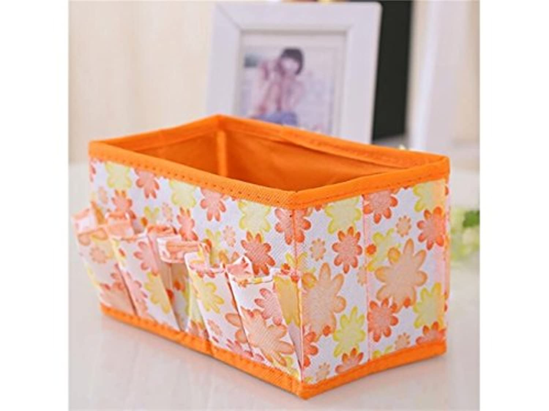 FenBuGu-JP 興味深い 折りたたみ可能な化粧品ジュエリー収納ボックスデスクトップその他ボックスステーショナリーボックス(オレンジ)