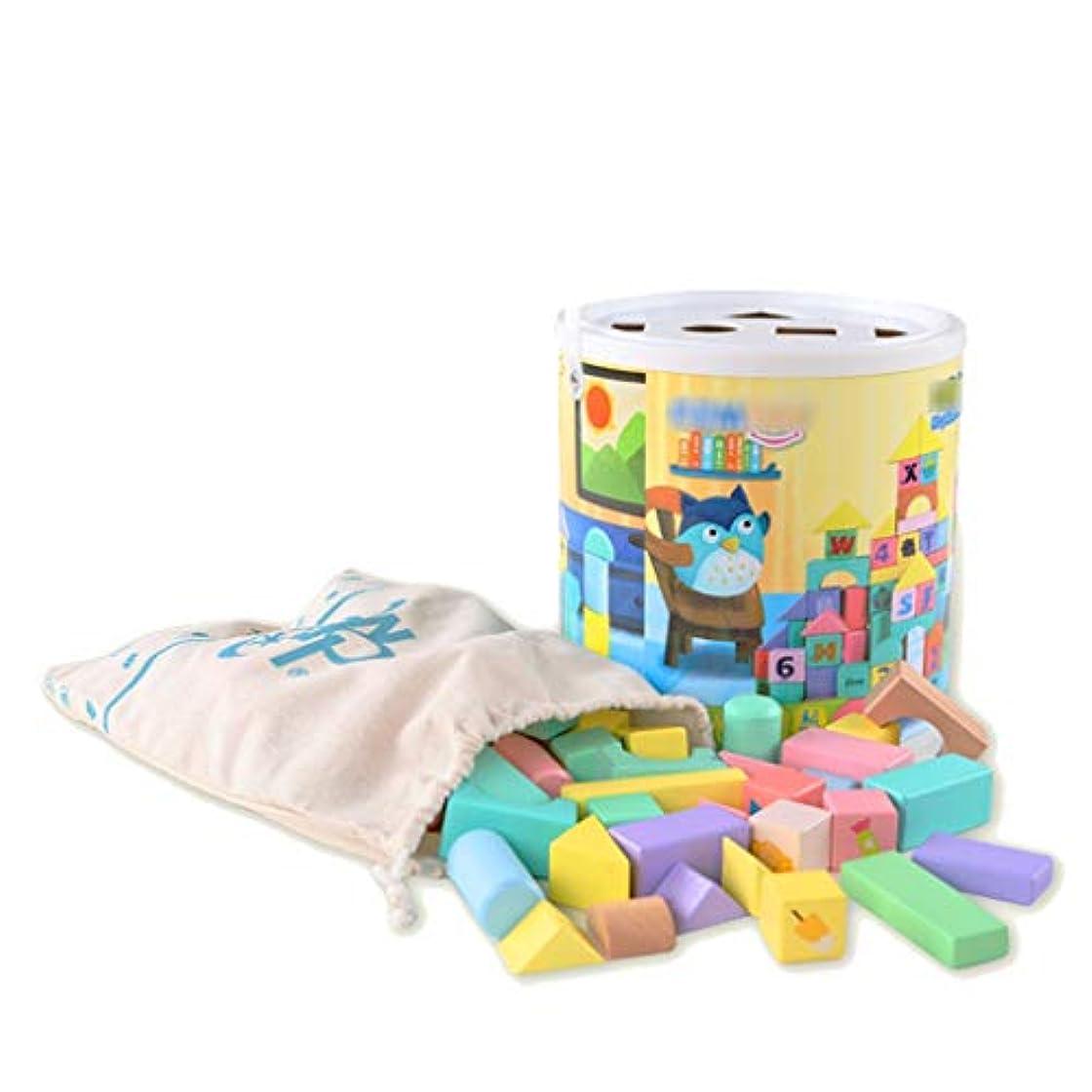 限りなく落ち着く翻訳100PCS木製のビルディングブロックを設定し、3-6歳の男の子か女の子のための子供の建設木製玩具 - 教育玩具 (色 : Multi-colored)