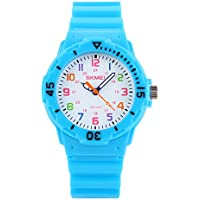 Kids 50M Waterproof Watch,PU Band Wrist Watch for Boys Girls, Light Blue