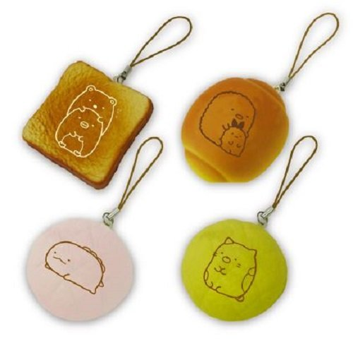 【すみっコぐらし】【本物そっくりスクーズ】すみっコぐらし やわらかパンマスコット 4種セット