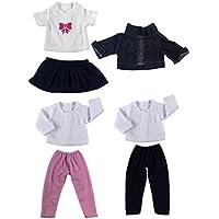 Lovoski  3セット 人形 シンプル 流行 服セット Tシャツ ジーンズ プリーツ ドレス 18 インチアメリカンガールドール適用 装飾