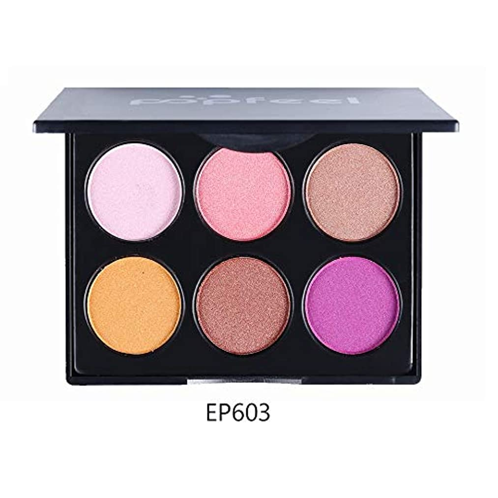 Rabugogo 6色マルチカラーアイシャドウパレットビーズマットアイシャドウ化粧品メイクアップ EP6#3