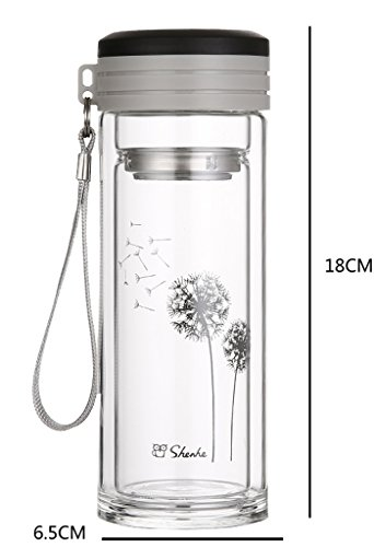 BeauDO(ビュード) 二層 耐熱ガラス マグ 保温 保冷 ダブルウォール 水筒 紅茶 ハーブティー エコボトル (a.ブラック)