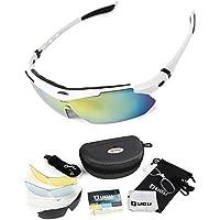 LICLI スポーツサングラス 「 偏光 レンズ uv 紫外線 99% カット 」「 メンズ レディース 男女兼用 フリーサイズ 」「 度付き 対応 インナーフレーム 交換レンズ 5枚 専用ケース 付属 」「 超軽量 豊富な7カラー 」
