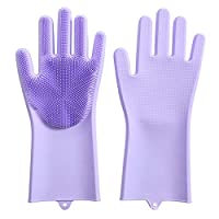 Silicone dishwashing gloves kitchen multi-function gloves thick waterproof household gloves,Purple