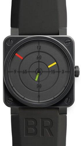 ベルとロス航空レーダーブラックダイヤルブラックPVDステンレス鋼ゴム自動メンズ腕時計br0192radar