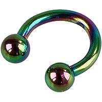 SODIAL ( R )カラフルなチタンスチールU -型ボール眉リップ鼻耳Horseshoeリング6 mm