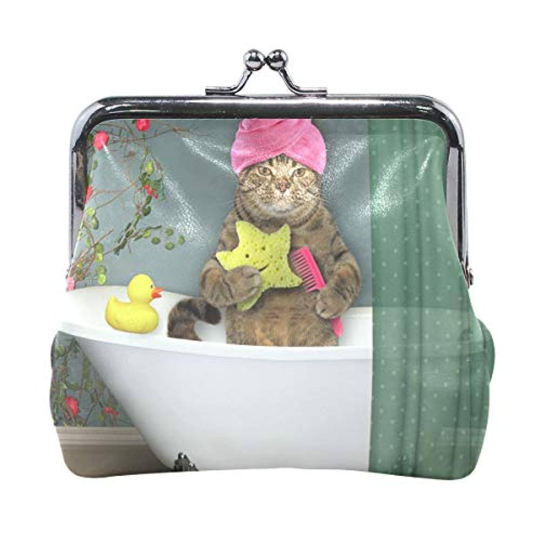 AOMOKI 財布 小銭入れ ガマ口 コインケース レディース メンズ レザー 丸形 おしゃれ プレゼント ギフト オリジナル 小物ケース 猫柄