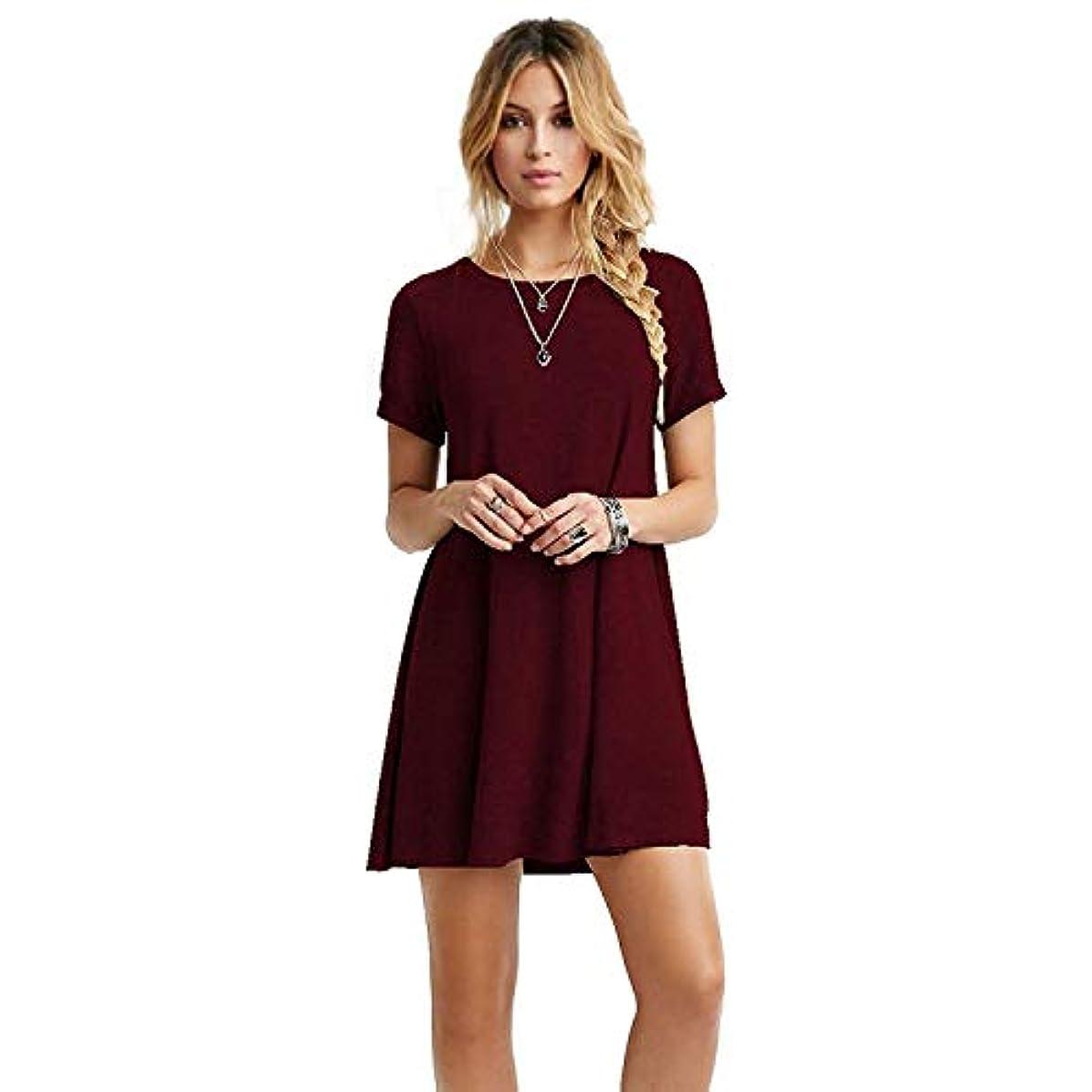 アミューズストラップ確かにMIFAN女性のファッション、カジュアル、ドレス、シャツ、コットン、半袖、無地、ミニ、ビーチドレス、プラスサイズのドレス