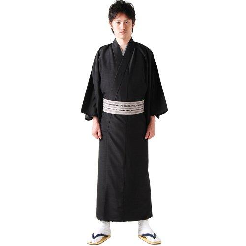 (キョウエツ)KYOETSUメンズ洗える単衣着物無地紬生地単衣仕立て上がり(LL,黒)